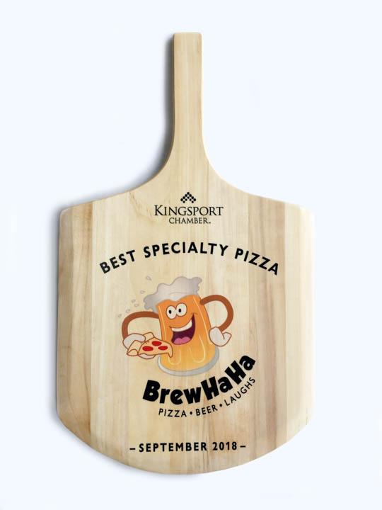 Pizza Paddle award with BrewHaHa logo